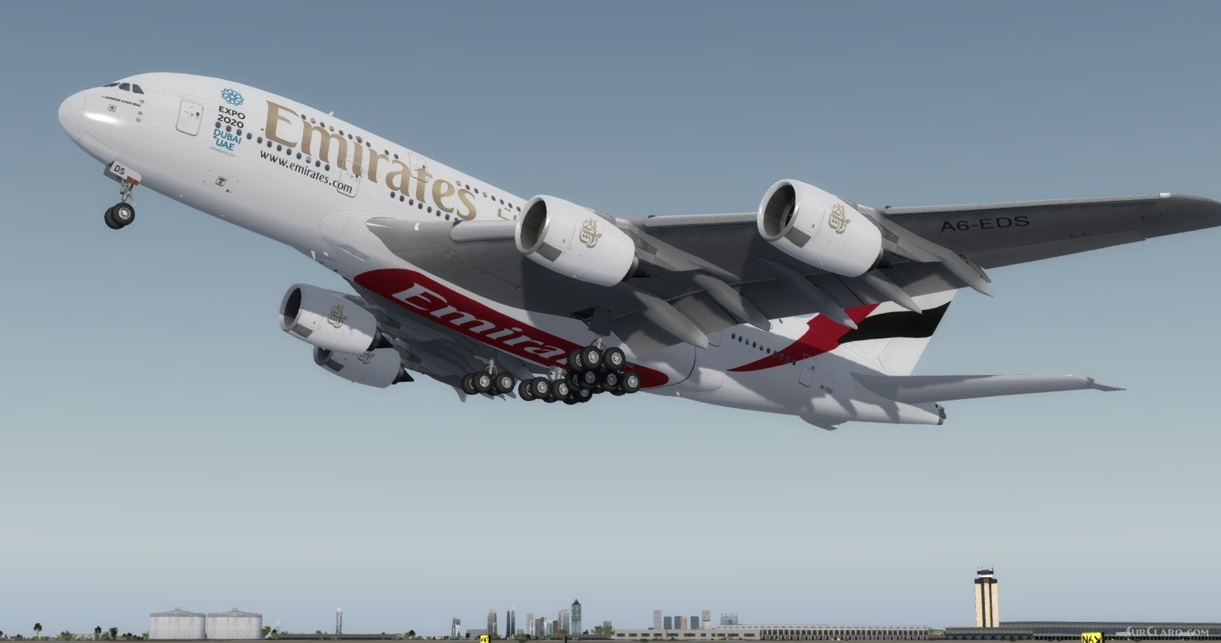 FSX P3D Airbus A380-800 Emirates Expo 2020 Package Aircraft