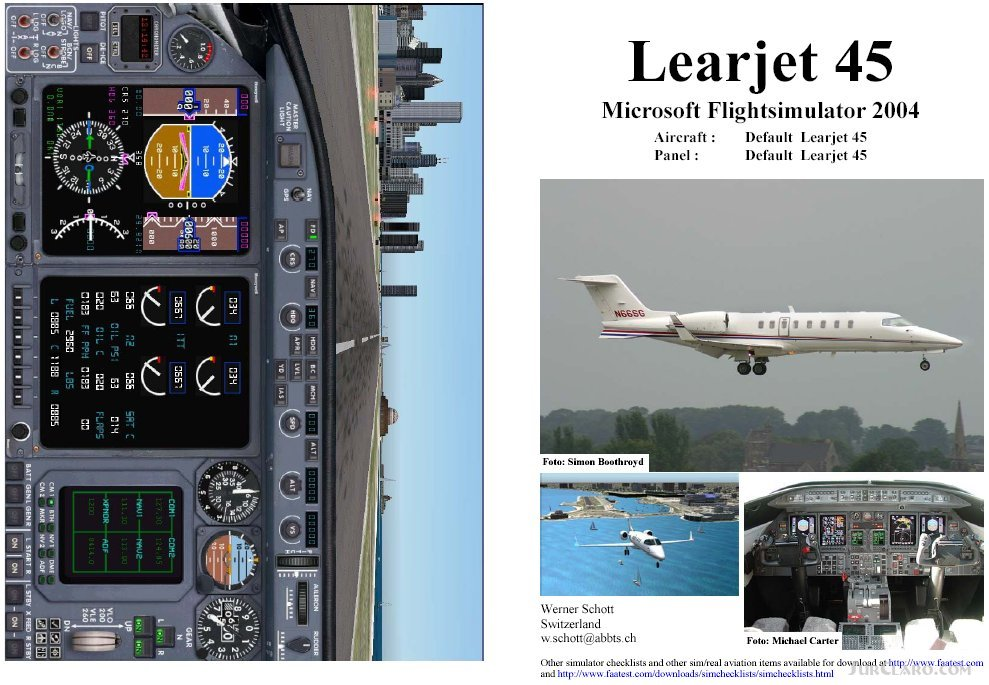 fs2004 manual checklist default learjet 45 aircraft