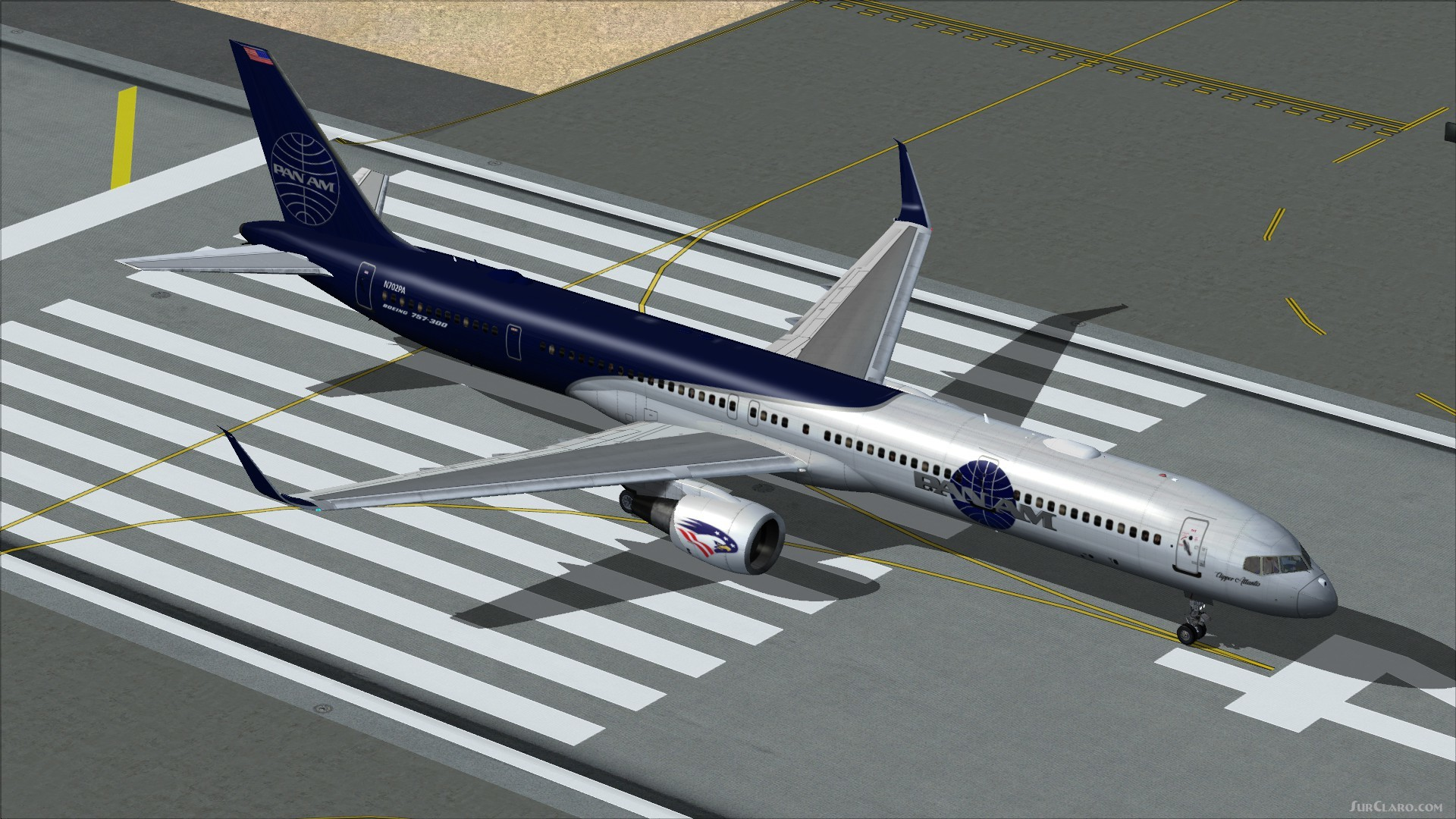 FSX TDS Boeing 757-300PW PAN Blue White Livery Aircraft