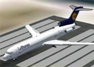 FS2002 Lufthansa New Colors Boeing 727-230adv image 1