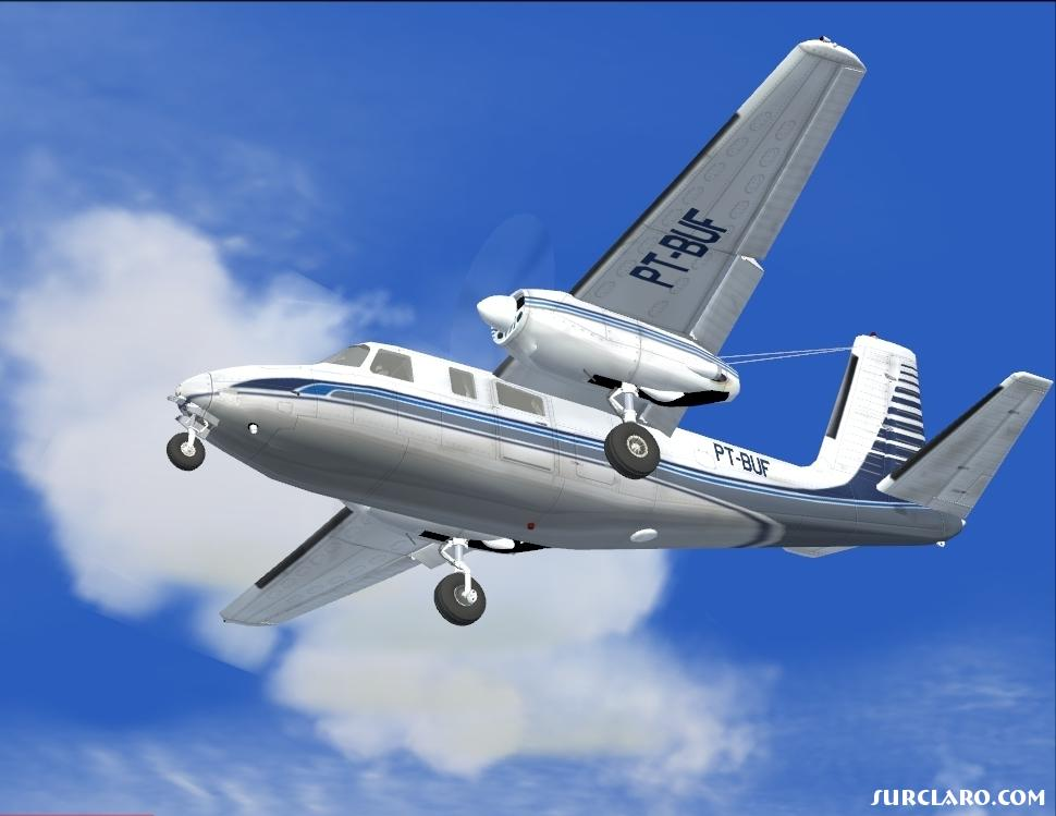 A beautiful old classic on a beautiful blue backdrop.  The Aero Commander 680 Super Commander flying just overhead on short final to a local airport.  Still flown thorughout the world, this is a nimble, powerful turboprop.  GMAX model by Milton Shupe, Scott Thomas and Andr� Folkers. - Photo 6246
