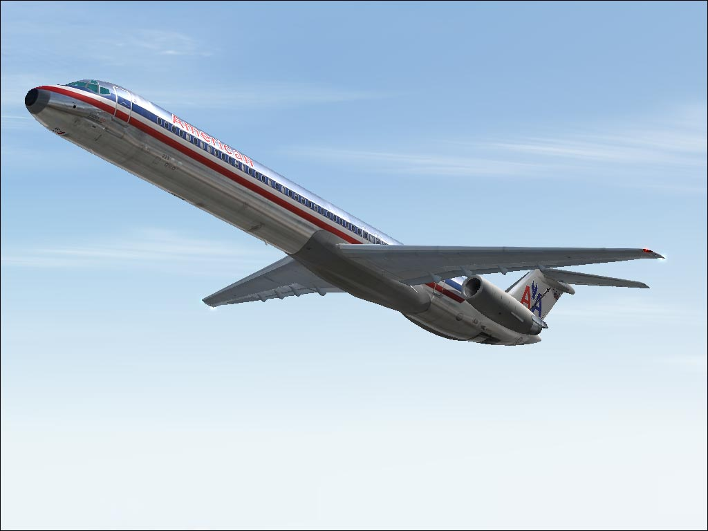 An American Airlines MD-80 take-off from LAX. 