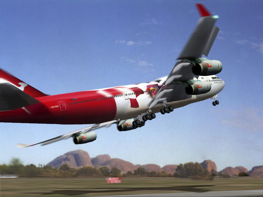 A Qantas 747 from feelrealflight.com. I chanced this screenshot a little bit. The background is a picture I made in Australia. And i added some blur.  - Photo 1657