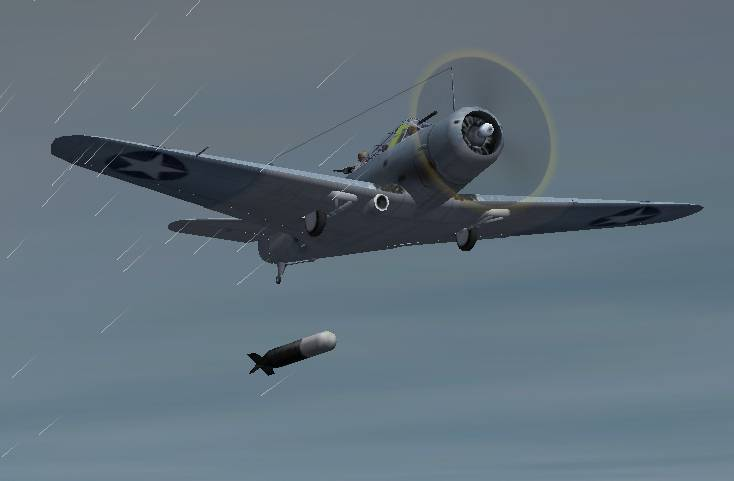A shot of a TBD1 Devastator launching a torpedo on a Japanese carrier during a thunderstorm. - Photo 125