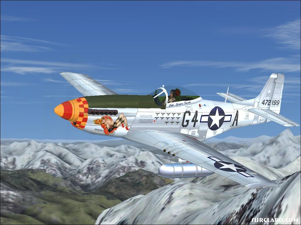 P51 Mustang over the mountains of Alaska. - Photo 6922