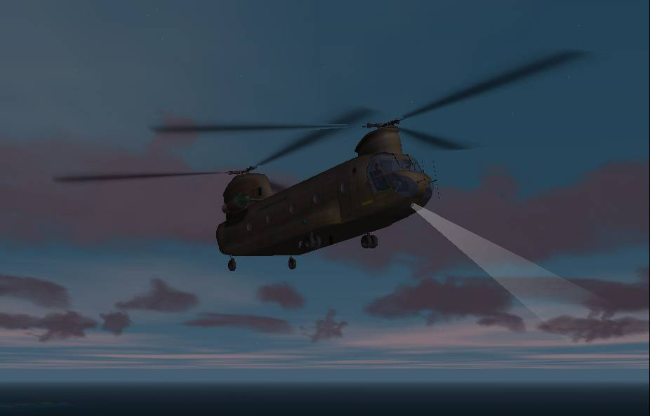 an R.A.F. Chinook searching for a downed transport in the morning hours. - Photo 127