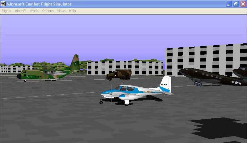 okay,its a fs98 plane and scenery running in cfs with a truck and 2 c47's i added with a static object generating program.I remember watching skyking when I was a little kid - Photo 4090