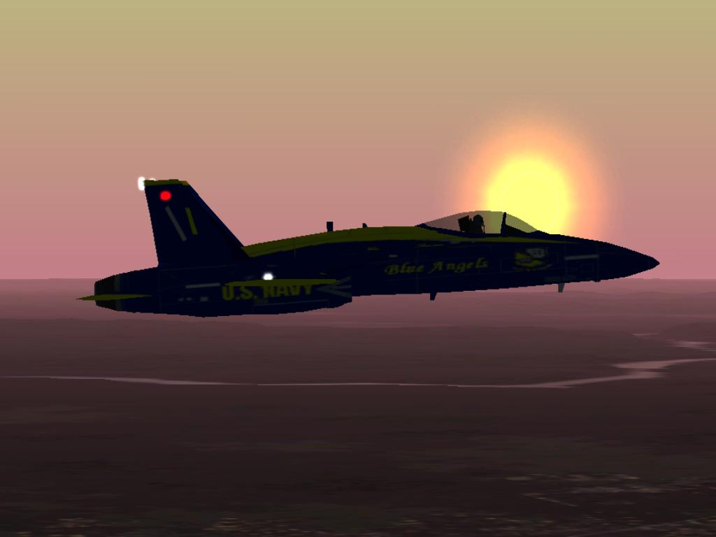 Blue Angel flying CAP over Washington D.C. at sunset in the wake of September 11, 2001 - Photo 327