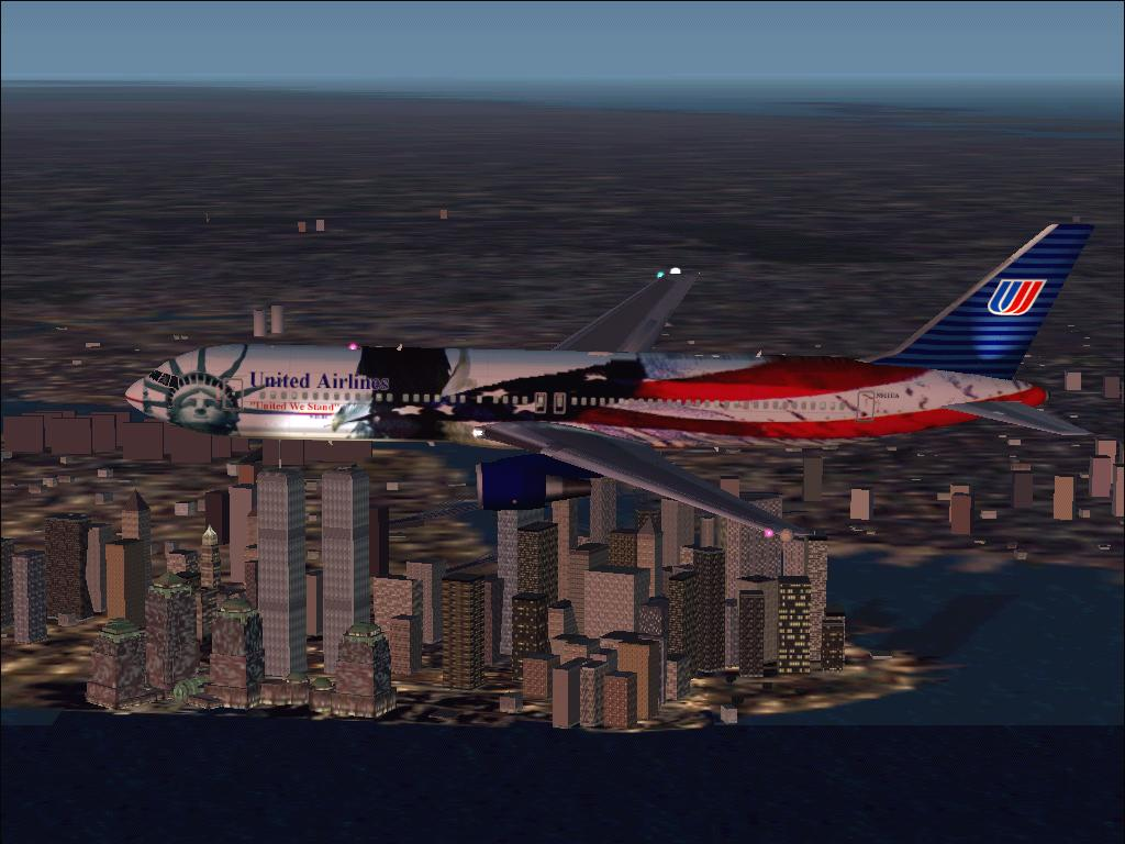 A special tribute version 767 flying over the WTC (add on for FS2002)  - Photo 362