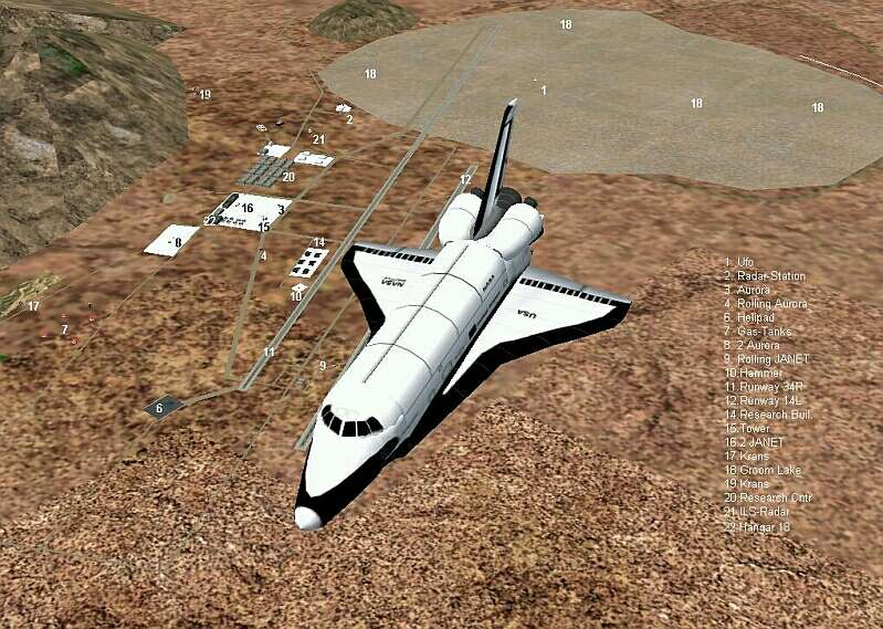 This is the Space Shuttle over the AREA51. On the right side you see, the numbers with the names. - Photo 434