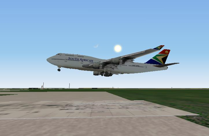 A South African 747 just seconds away from alnding at Dallas Ft. Worth Intl.  - Photo 1042