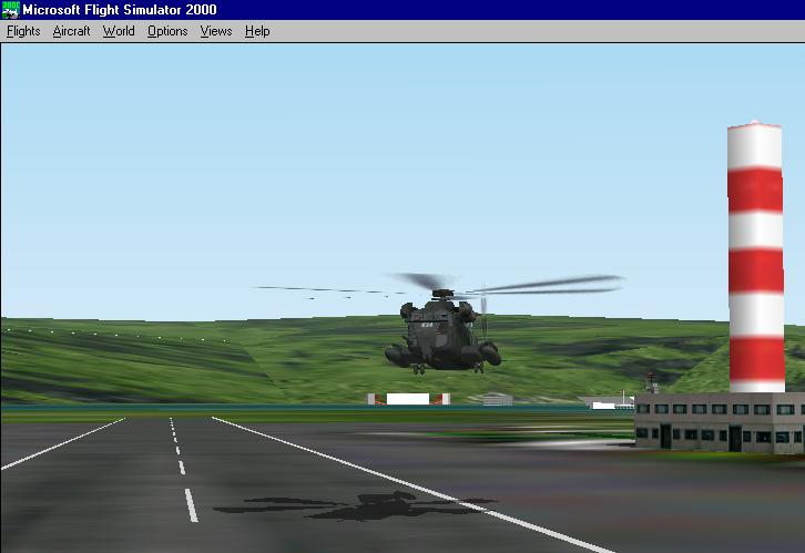 This is my CH53 landing at an Airforse base in Hawaii. Notice detail on bulidings. I didn't put them there. - Photo 1815