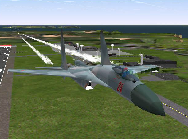 A Sukhoi SU27 (built by Graham Waterfield of Phoenix Simulation Ltd) flying low over Guernsey Airport, in the British Channel Islands, (scenery by Gary