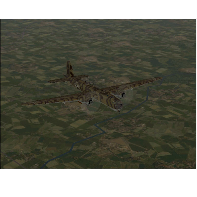 This is a pic of my heinkel flying over somewhere in england blending nicely into the background, now you can see that camouflage does actually make a difference (fs2000)