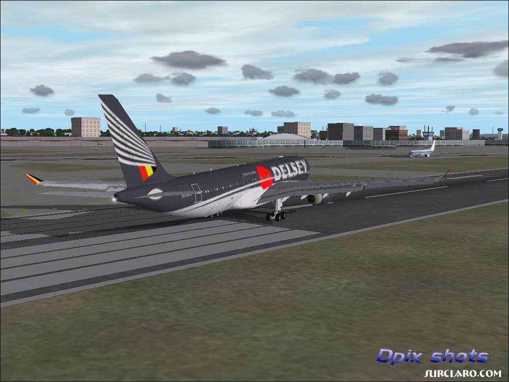 Van Gaever's new airline in Belgium @ Dulles washington DC, landing with a serious crosswind, picture msec. before toughdown.