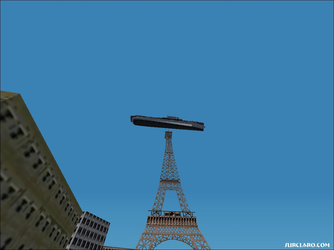 Luxury Airplane Over Eiffel Tower : Fs enterprise aircraft carrier in top of eiffel