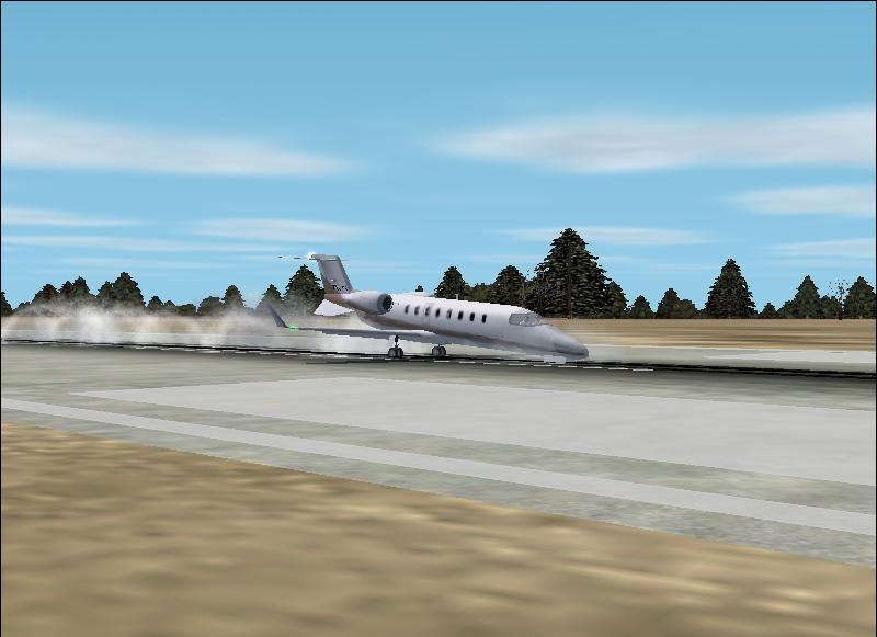 An Learjet 45 is making a landing with the parking brake on. - Photo 165