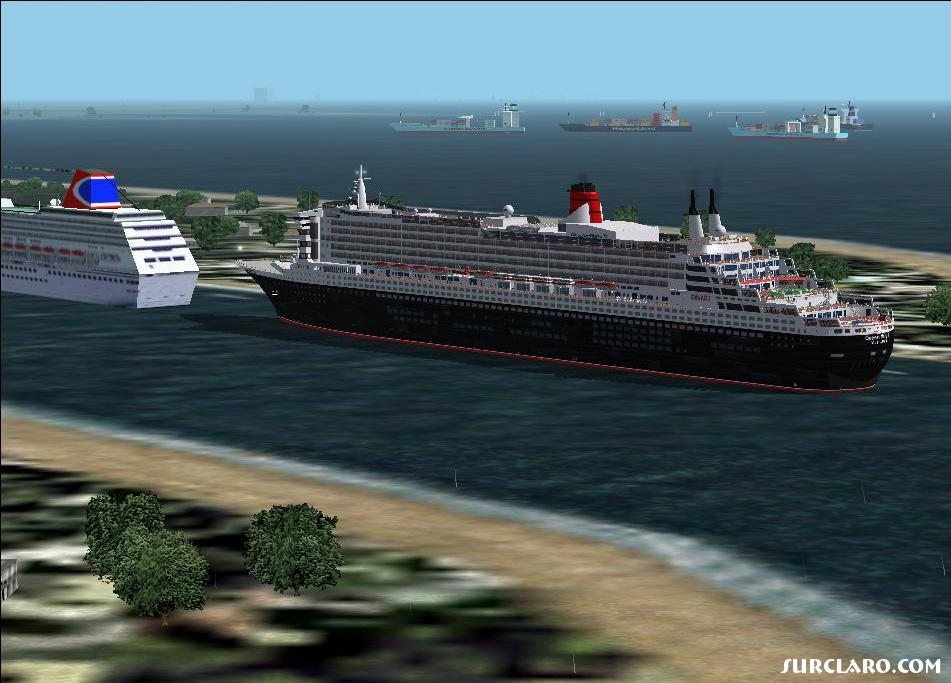 queen mary 2 about to leave miami.  ships from carib scenery - Photo 15815