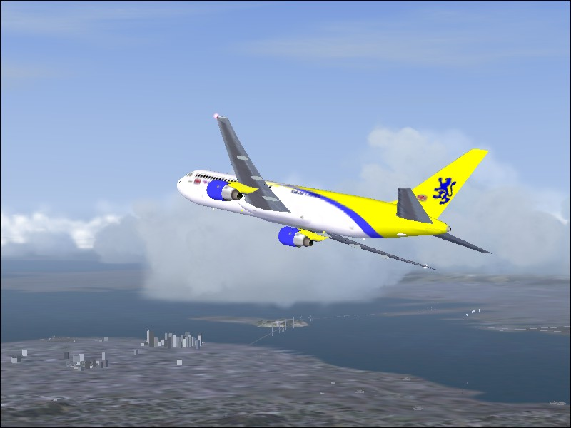 A Vuk Air 767 after take-off out of KSFO for KATL. - Photo 3802