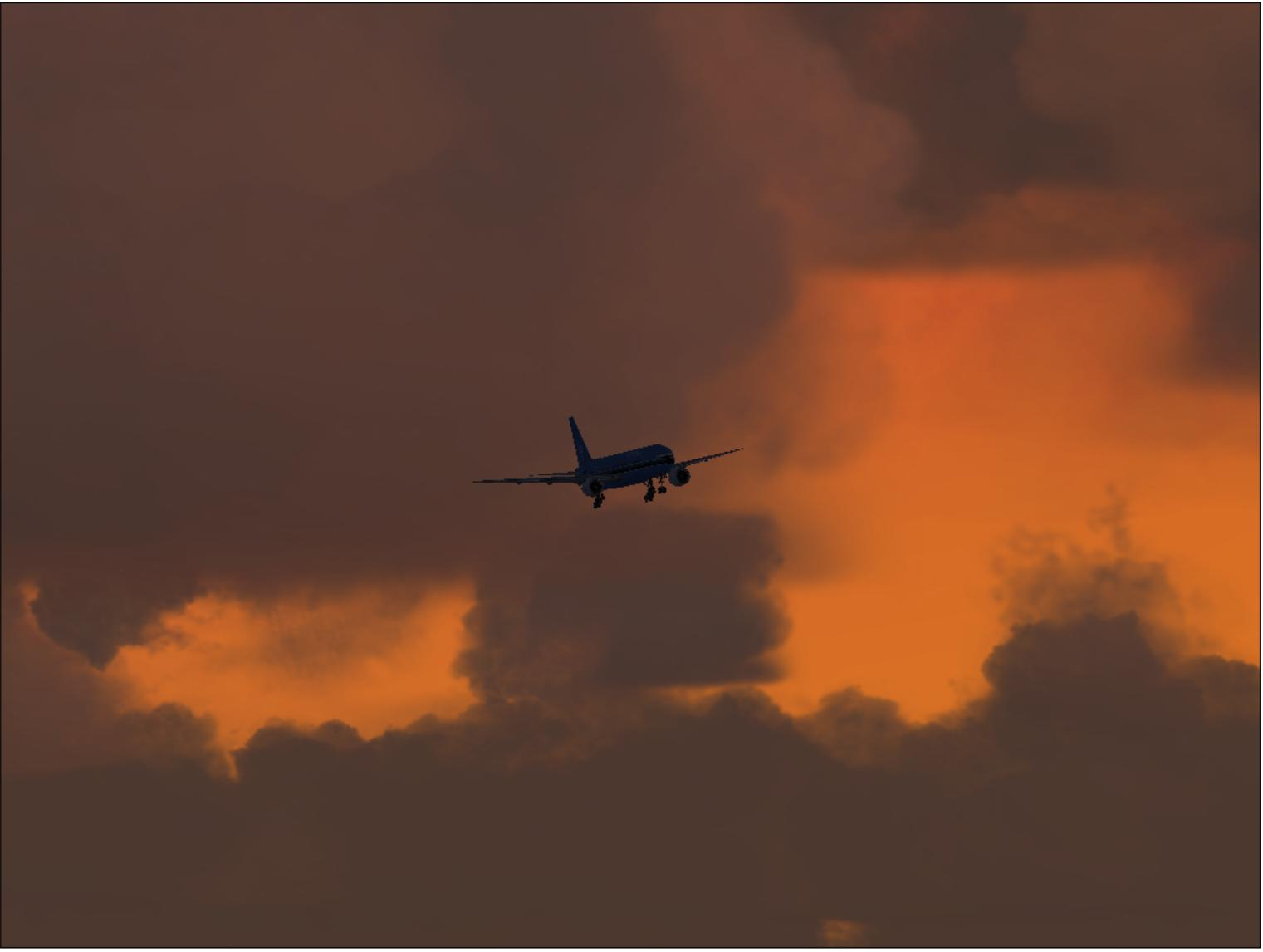 A wonderful sunset as a 777 comes in on approach at KDSM. *Nice Background* - Photo 3568