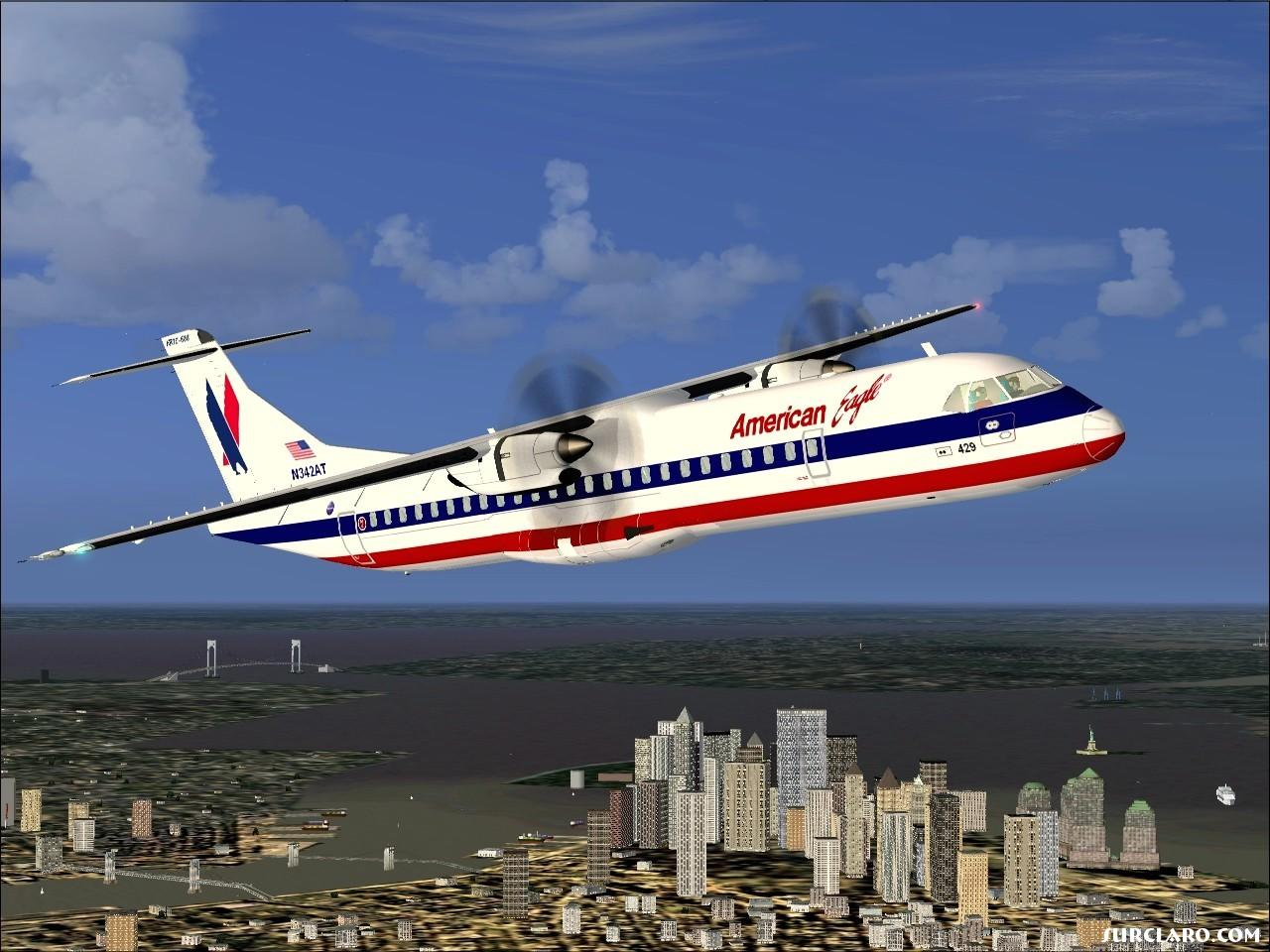 The ATR 72-500 in American Eagle colors over New York shortly after take off from La Guardia..... - Photo 10403