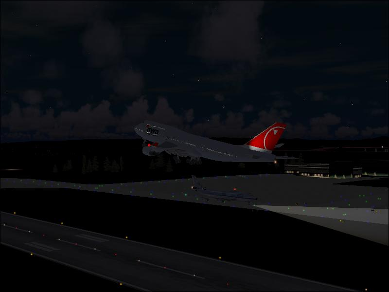 Taken off with a cargo aircraft visible. Hey, does your 747-400F? Default one (Global Freight) I think, have a small black nose and a big black thing near the tail coz in some videos, they show it the other way around! - Photo 3501