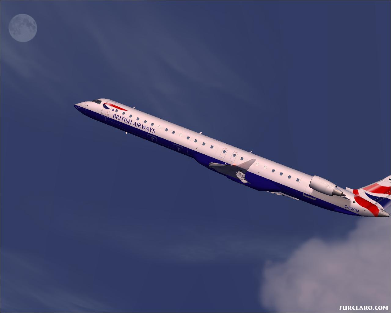 British CRJ strong take off. this flight wasn;ts full so i didn't need much fuel . Very little way load+ very little fuel= Powerful T/o :-) - Photo 11535