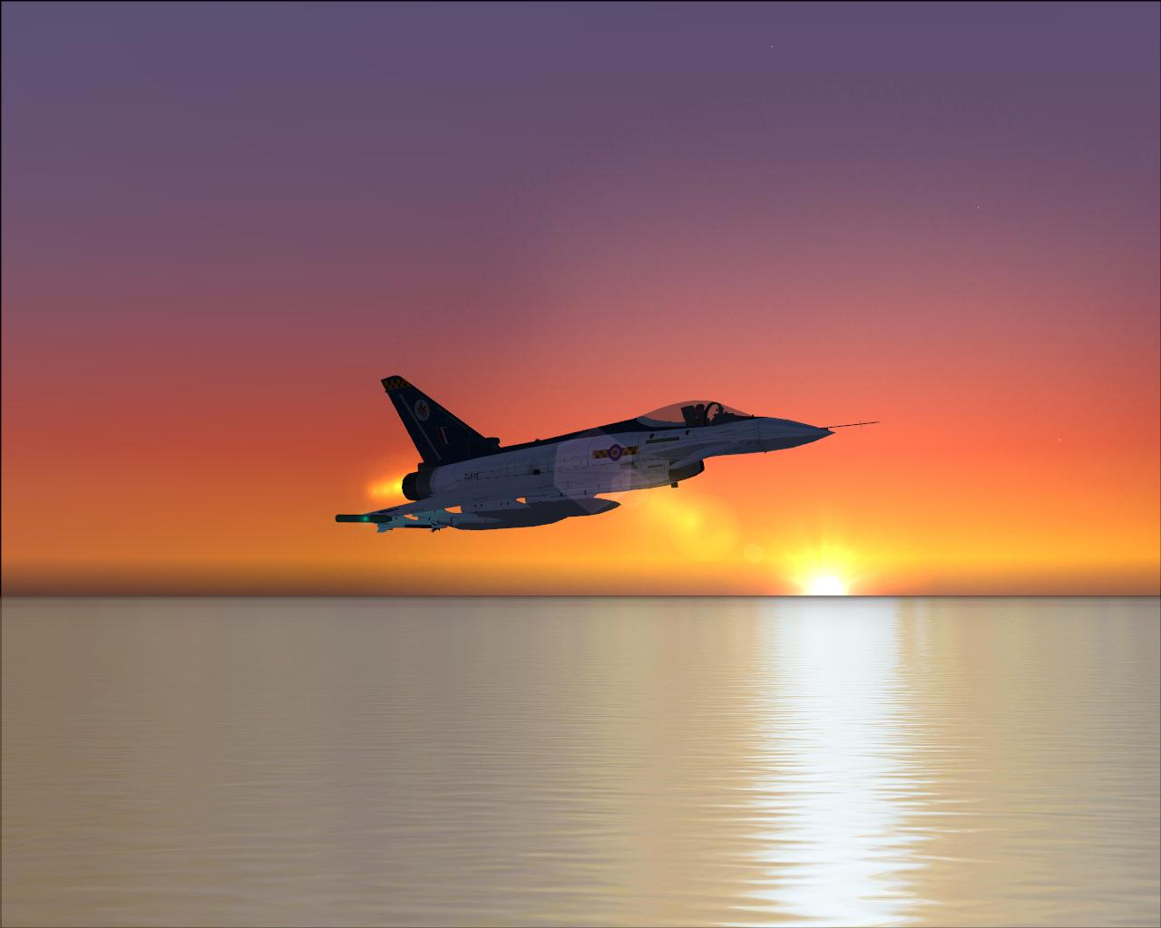 DSB Design Eurofighter Typhoon over the sea near Princess Juliana at Dusk. Oh how lovely - Photo 3481