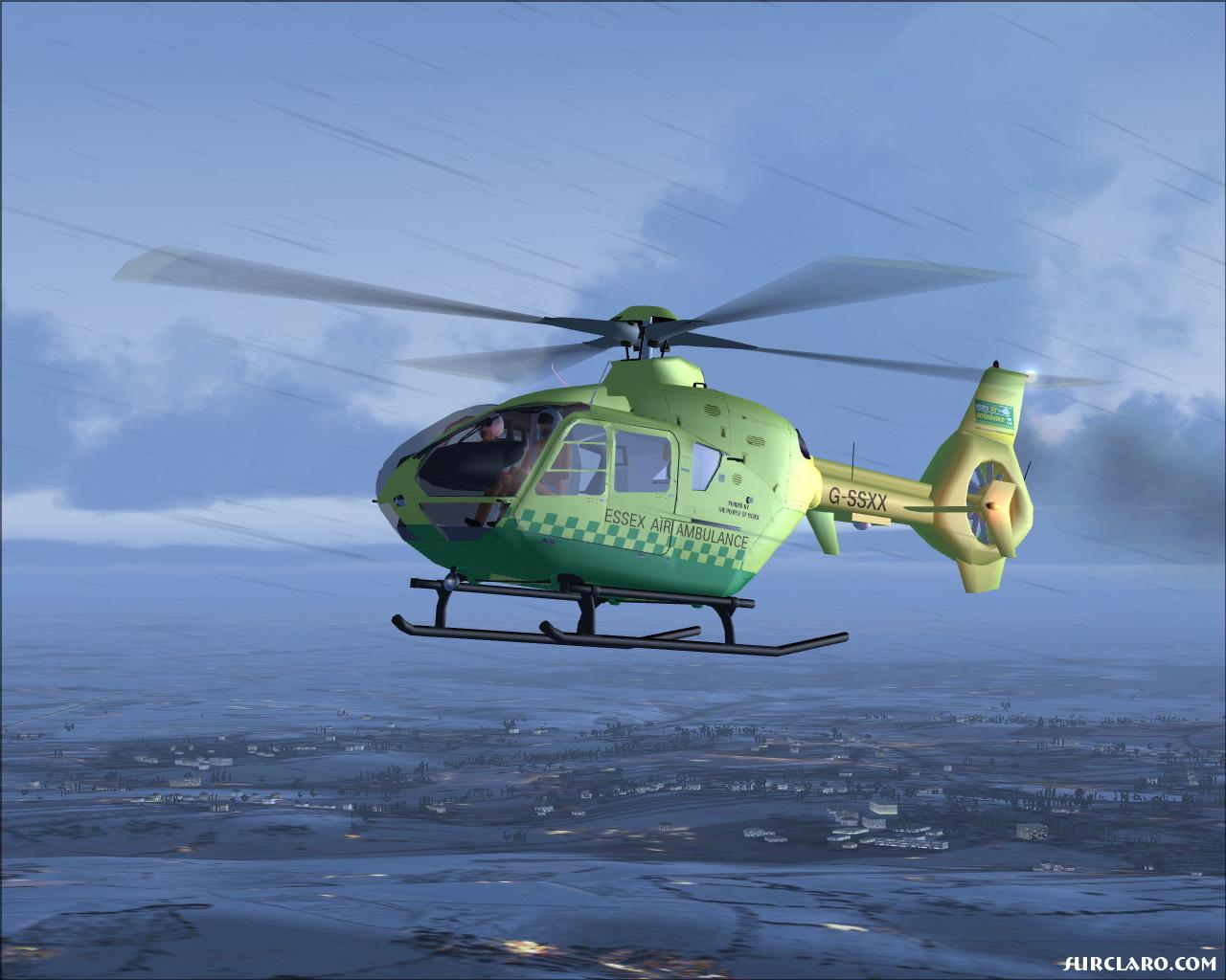 This is a Eurocopter EC 135 T1 (Essex Air Ambulance) being tested on my new gfx card(NVIDIA GeForce 7800GT). - Photo 13692