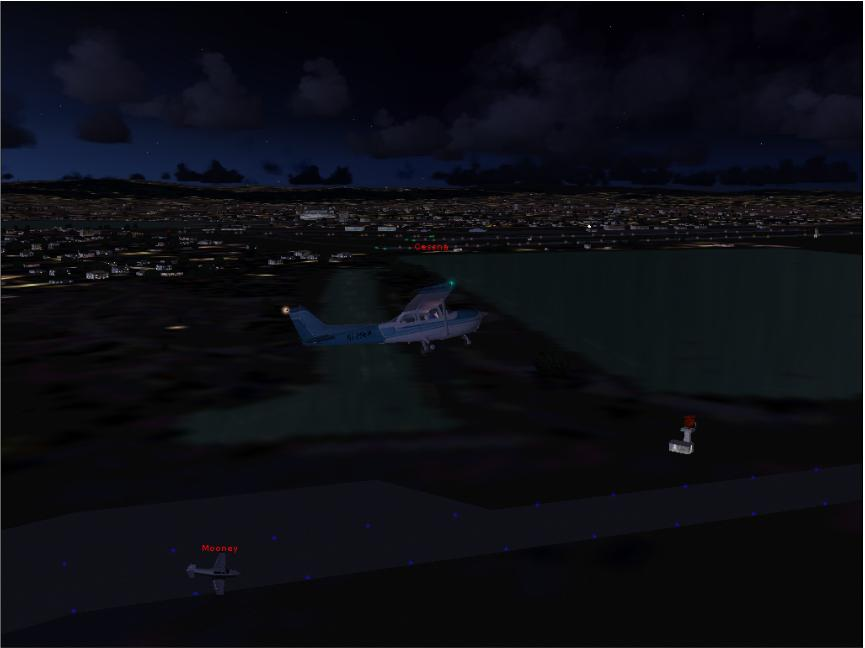 This is me in a Cessna 172 escorting a Mooney Bravo to the runway in Las Angeles
