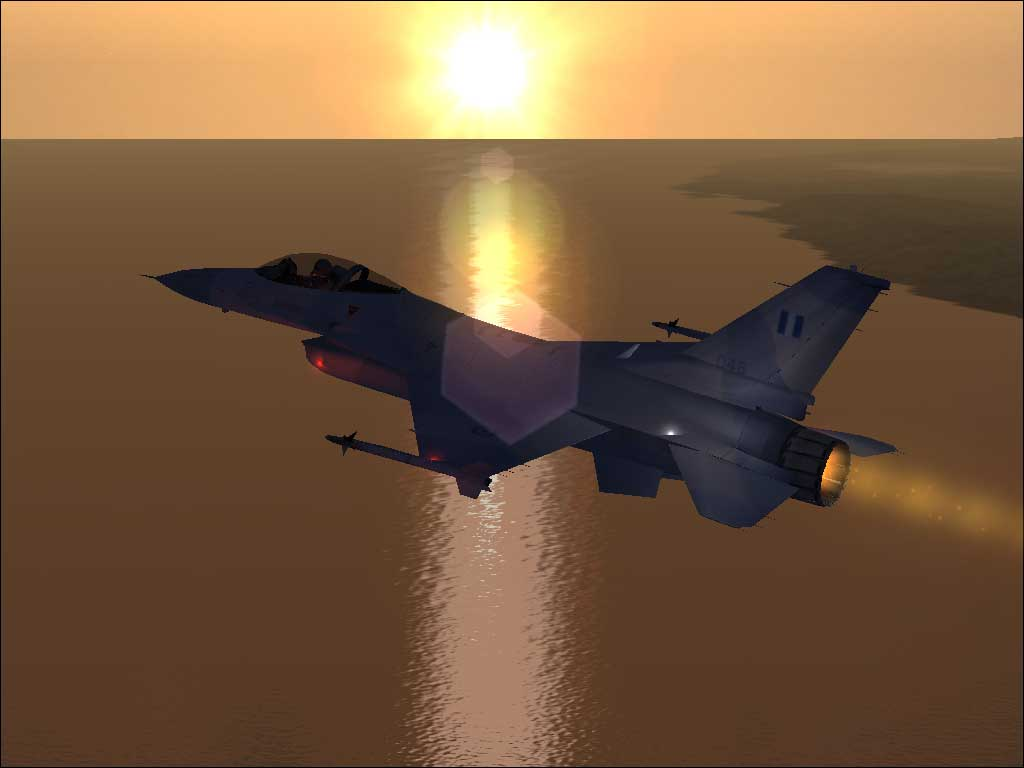 A F-16 flying around L.A. at sunset. - Photo 3818