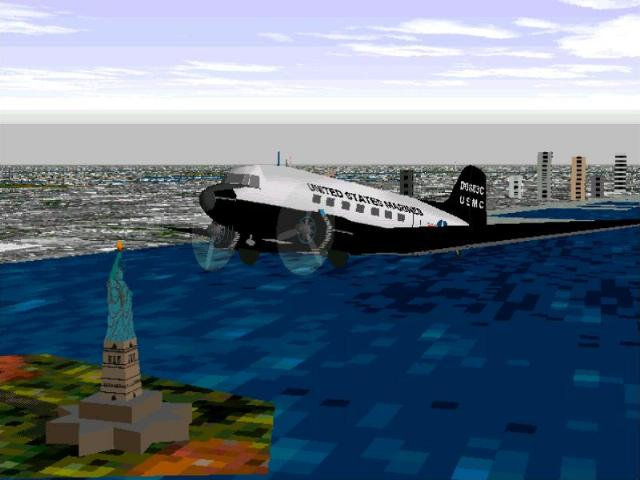 United States Marine Corps DC-3 over the Statue of Liberty - New York Harbor - Photo 140