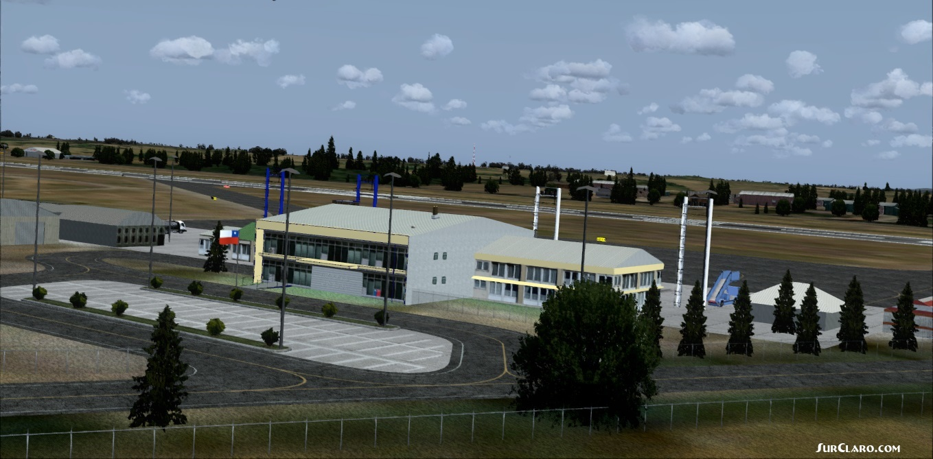 Chile,Aeropuerto Cañal Bajo Carlos Hott Siebert SCJO, included Osorno city photoreal, night effects.