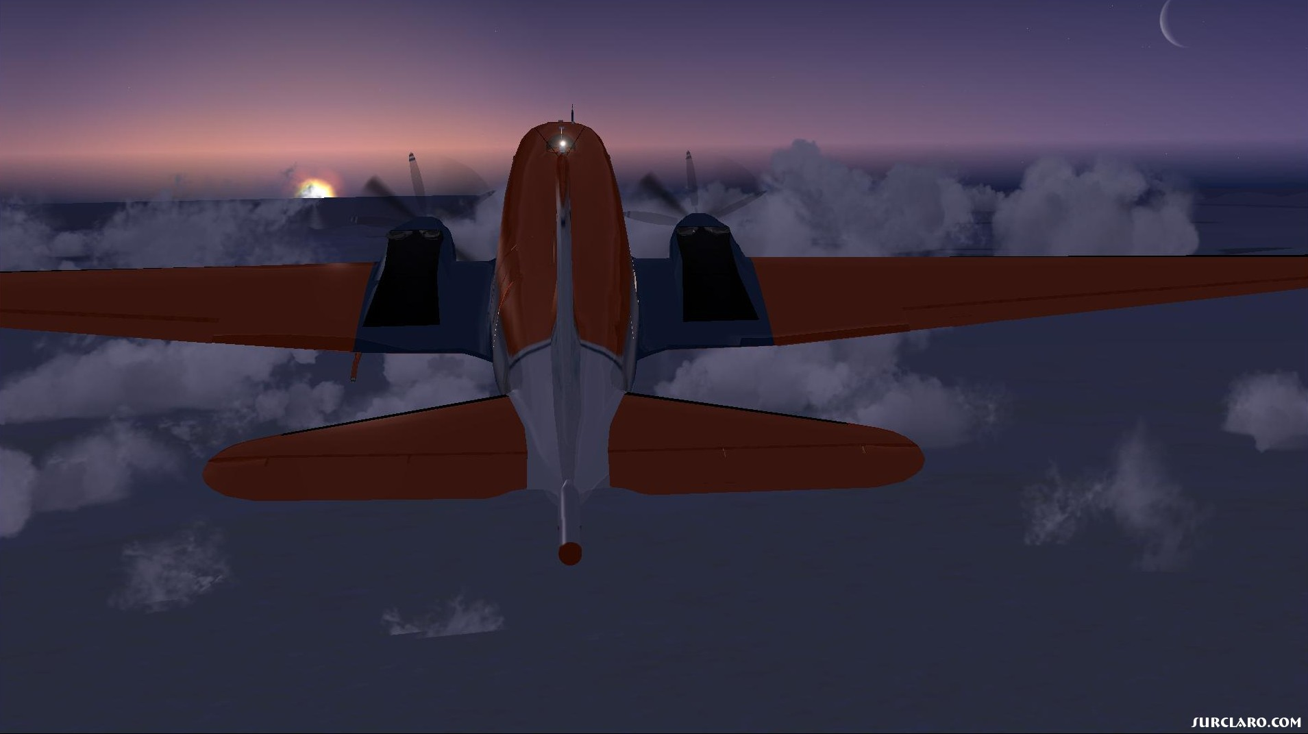 Flying BT-67 into sunrise, over Greenland - Photo 18131