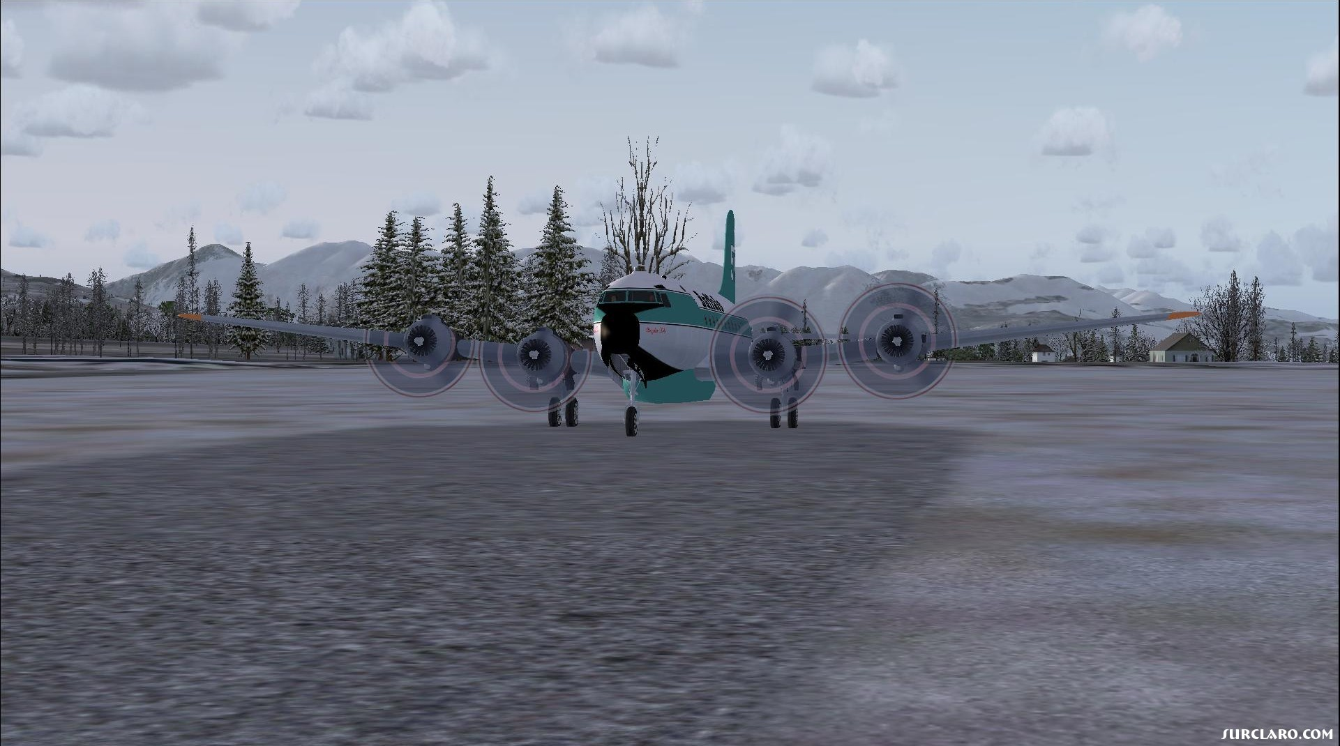 Buffalo DC-4 water tanker preparing to take off from a small strip in Alaska. - Photo 18135