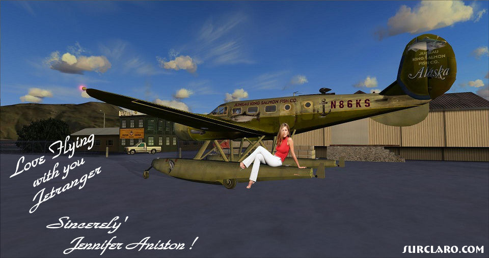 Jennifer Anniston, and the Beech D18 Float Plane we Fly in all the time ! - Photo 18723
