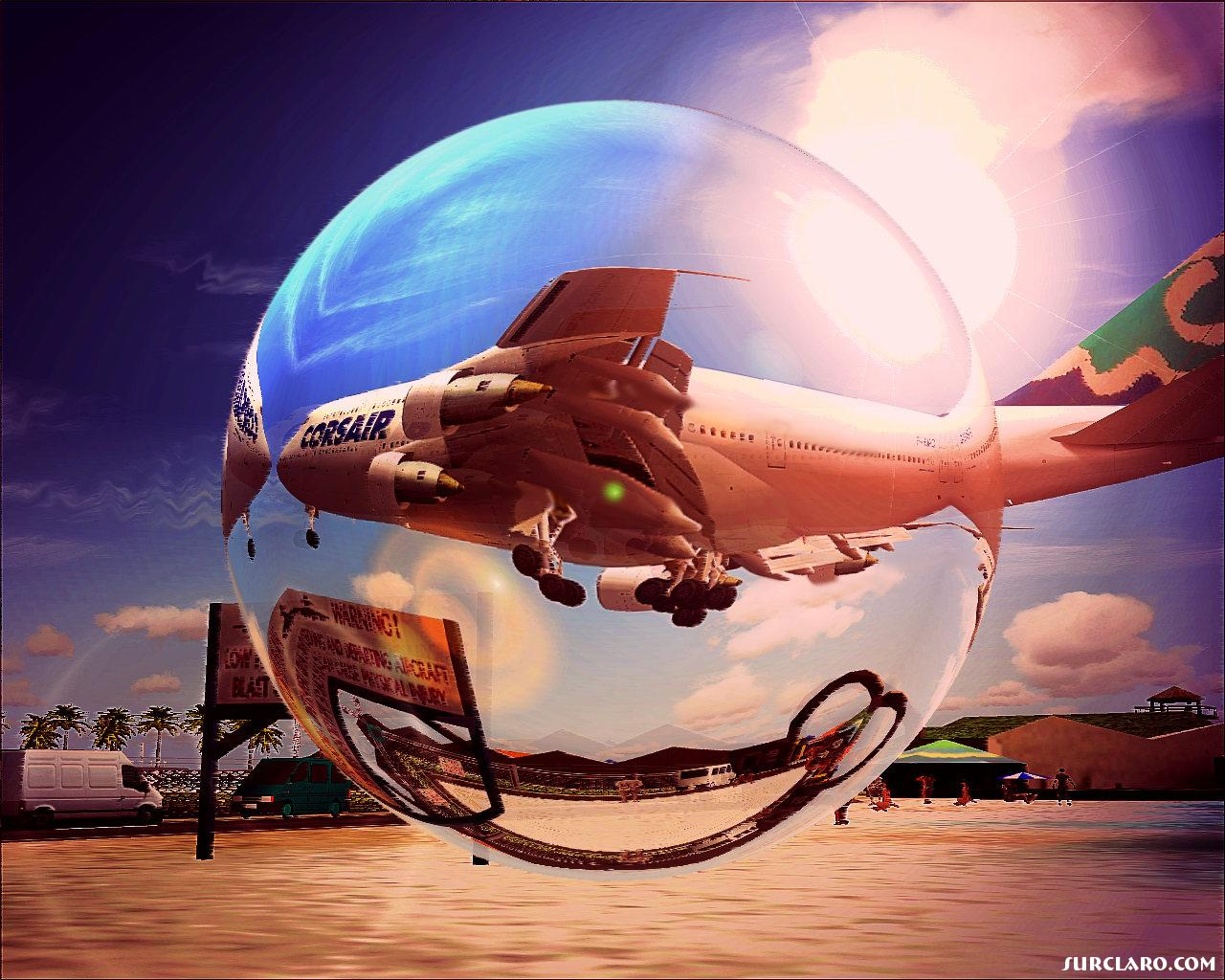 The full artistic views, expressing colors, saturations, and rendering, expressing the beauty and greatness of that landing airplane at St. Maarten - Photo 15562