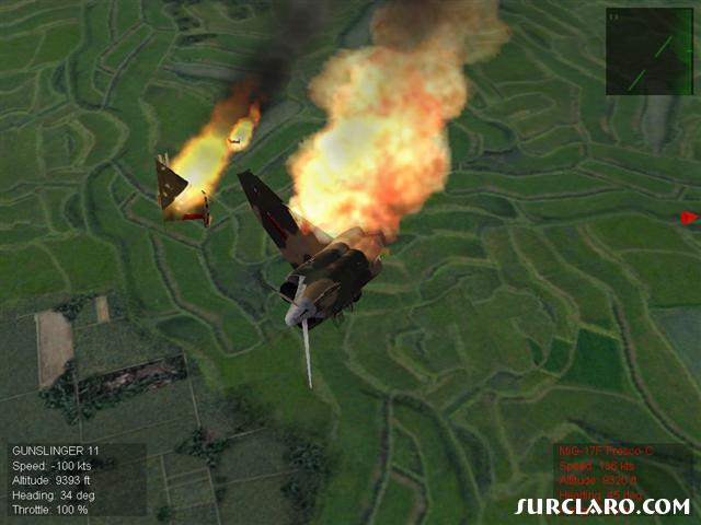 I was being chased by a MiG when he finally shot me with a missle.. it took out my wing! - Photo 15647