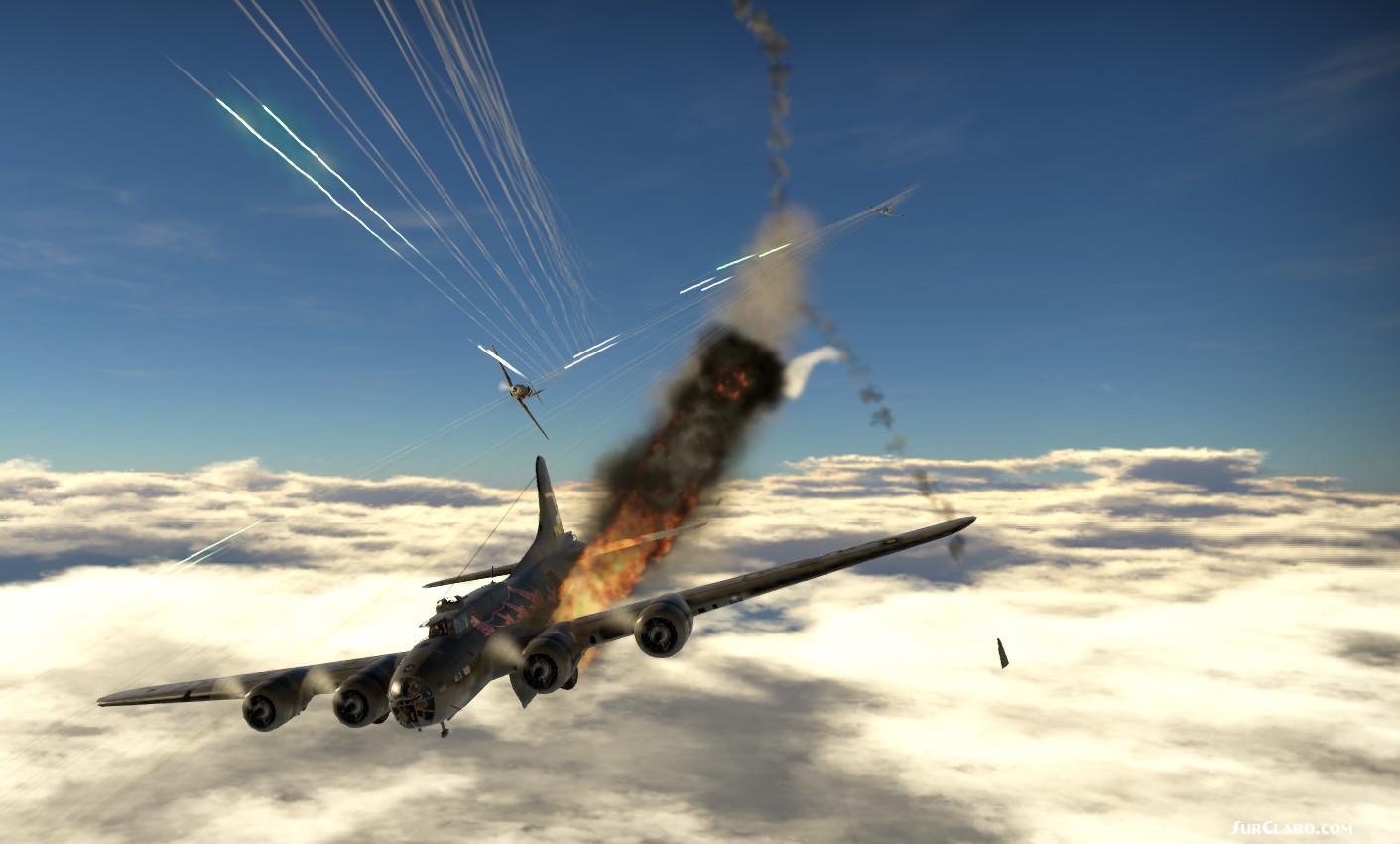 Boeing B-17 Flying Fortress being attacked by a BF109 and a FW190 over Norway skies - Photo 18835