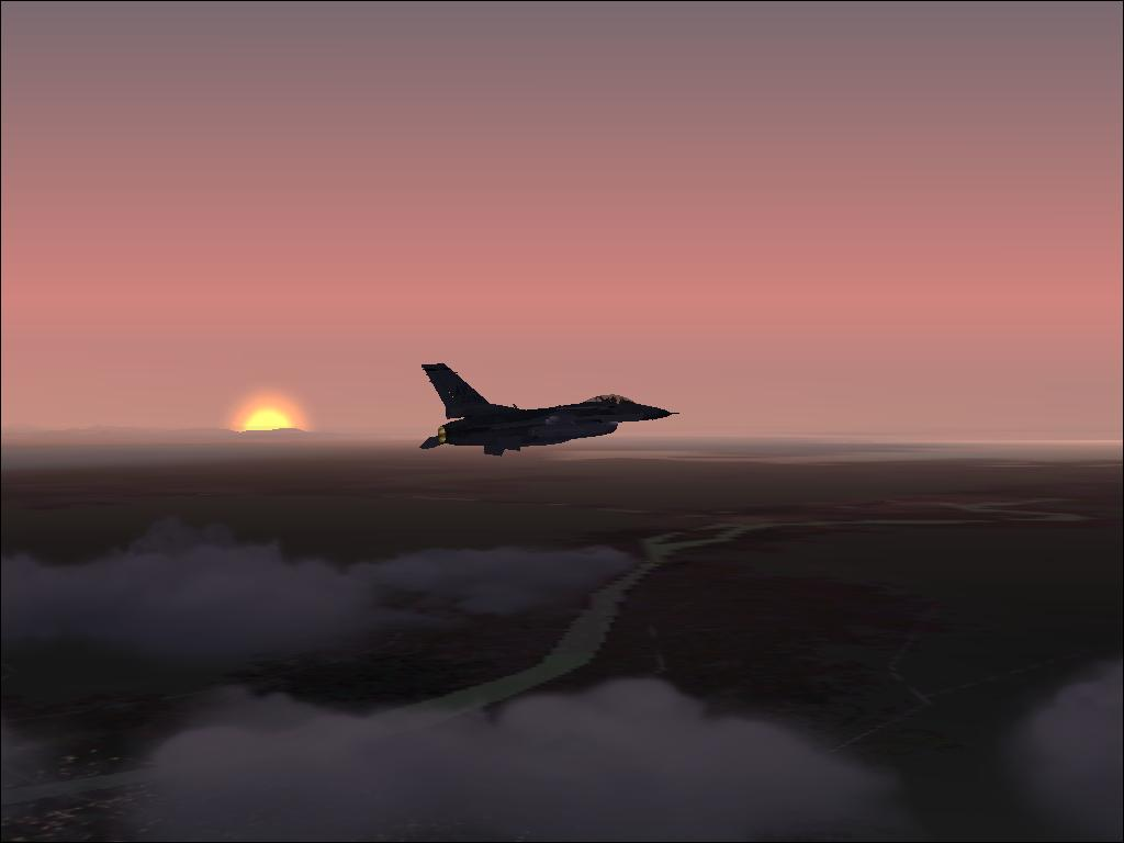 F-16 Over Sunset - Photo 1201
