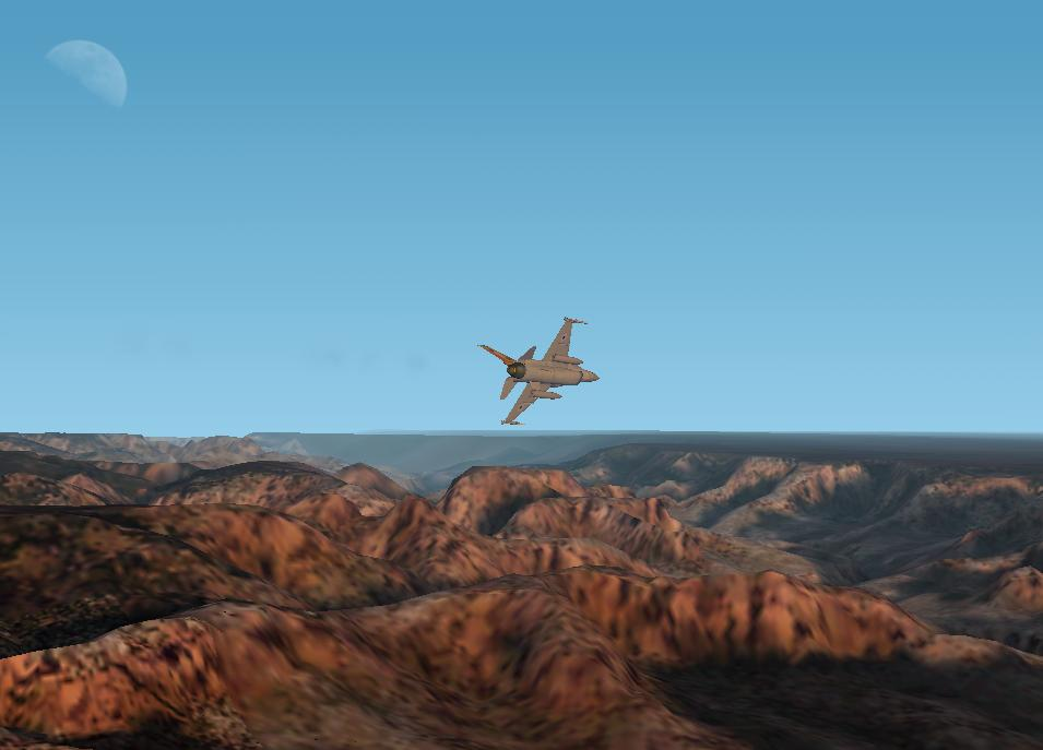 F-16 over canyon. - Photo 1206