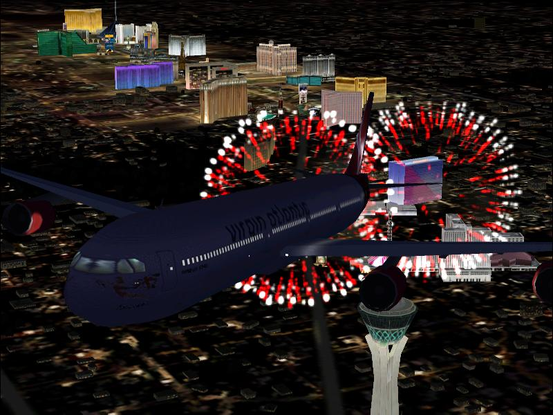 A340 over Las Vegas.