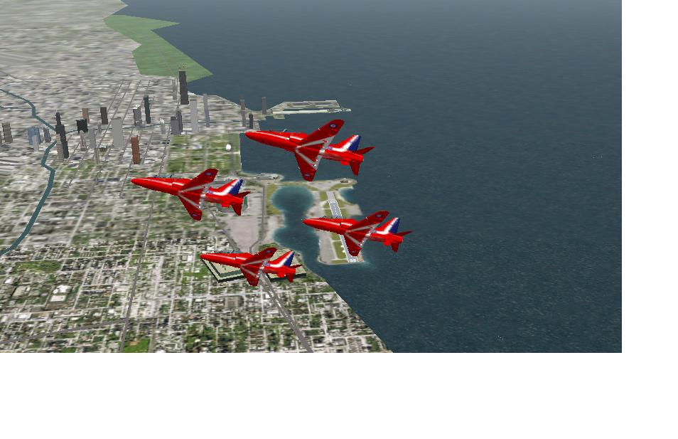 THE RAF RED ARROWS in a display at meigs 