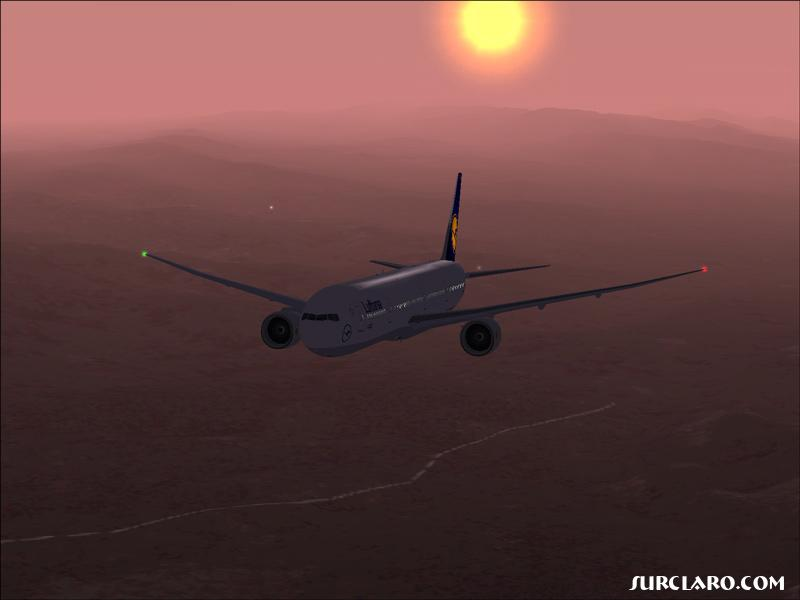 my selfmade fictional 777 Repaint of MelJet's wonderful model flying in the morning sun over california - Photo 2973
