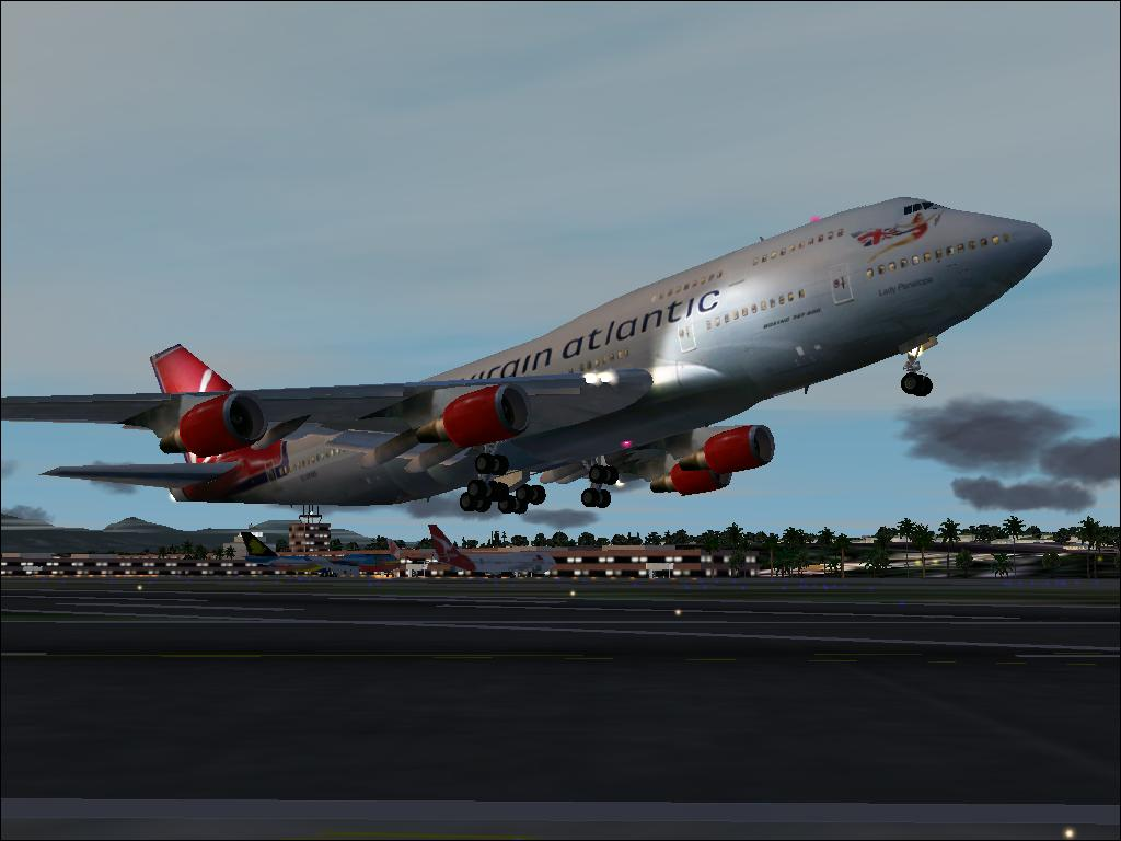 Thought I'd take my Virgin Atlantic Boeing 747 to a place she dosn't go often (in the real world); Honolulu, HI.  Takeoff from PHNL. - Photo 1731