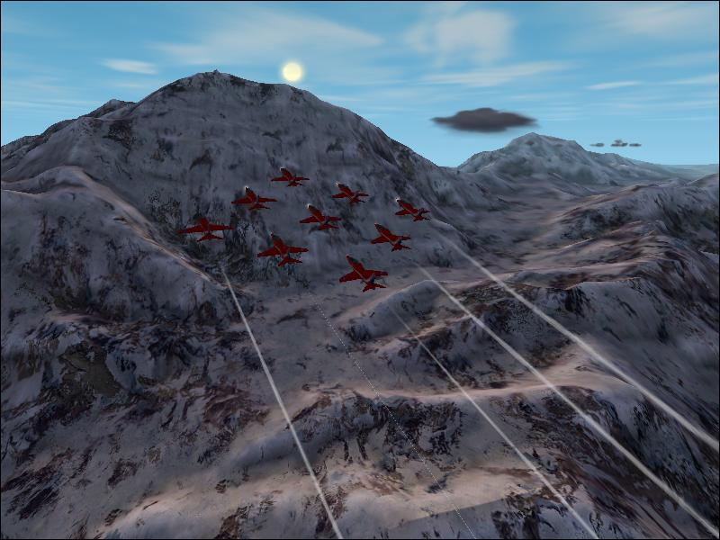 The Red Arrows Display Team over snow mountain - Photo 1548