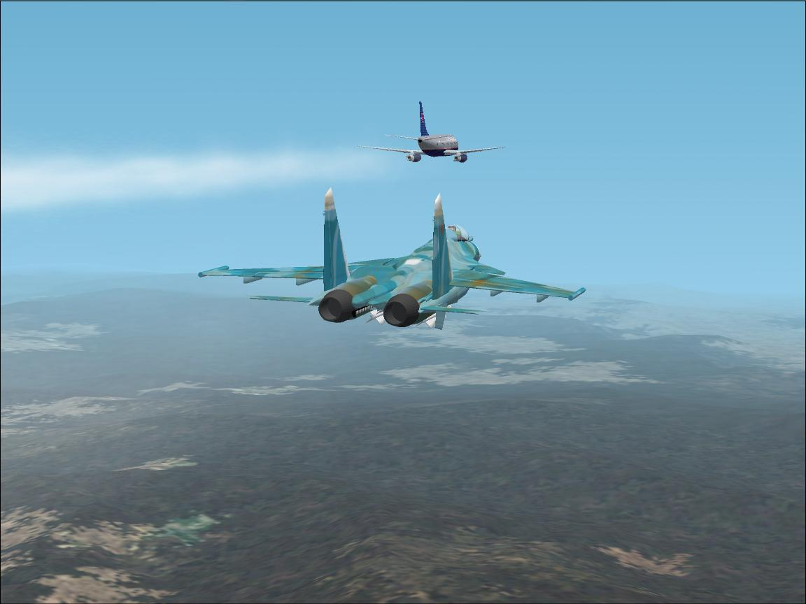 this is a screenshot of a SU-27 interceping a B737-200 