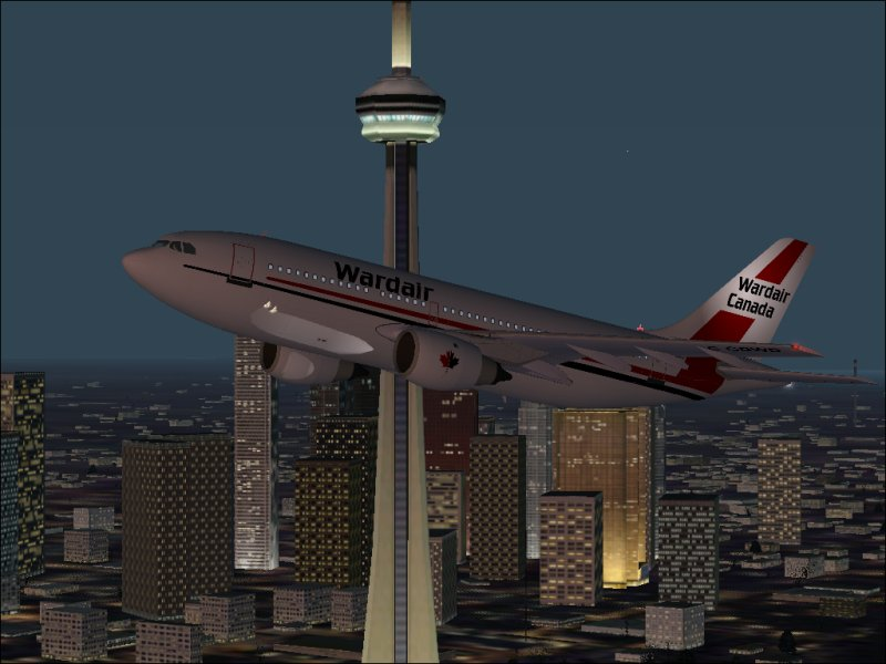 A flypast of the CN Tower in Canada .