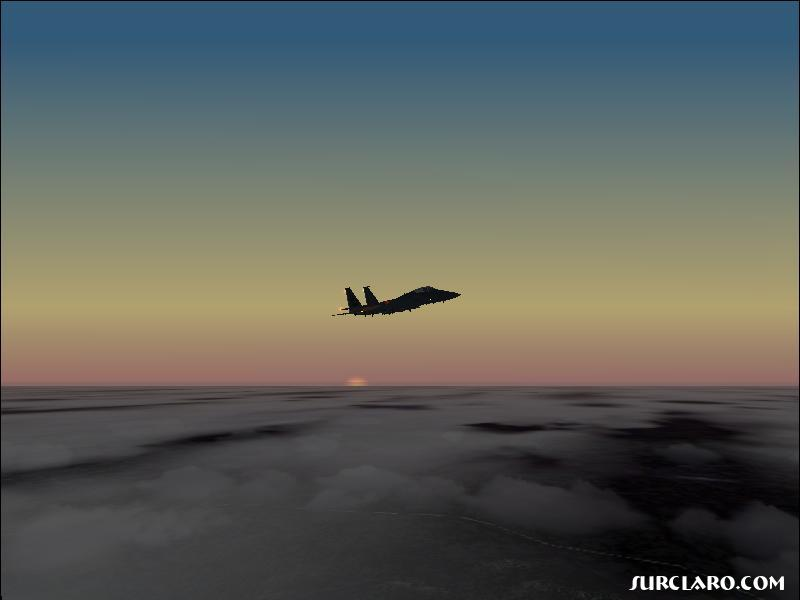 Flying my McDonell-Douglass F-15 into the Sunset. (fs2002) - Photo 3361