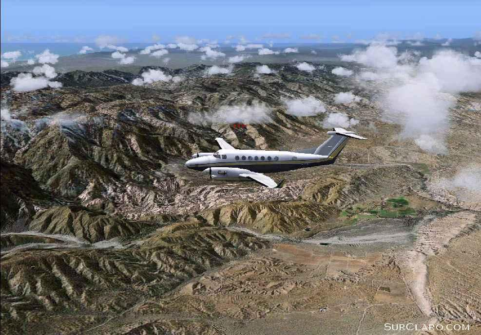 King Air flying from Lancaster to Big Bear, California in August. The terrain is enhanced by MegaScenery. (FS2004) - Photo 3545